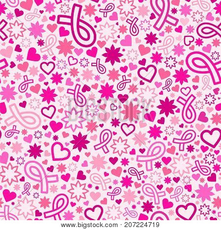 Breast Cancer awareness month seamless pattern with many objects, background with Pink Ribbon, female sweet vector illustration