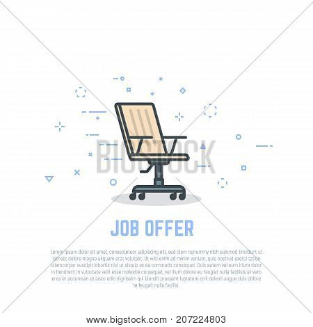 Job offer concept. Vacant employee. Linear chair with wheels. Retro colors and shadows. Flat style line modern vector illustration. Template for banner jon interview and hiring process.