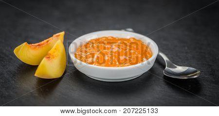 Some Peach Jam On A Dark Slate Slab