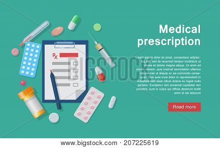 Medical equipment prescription and supplies infographic. Medical equipment for prescriptions and tools as infographics for designers and illustrators. Doctor's instruments as a vector illustration