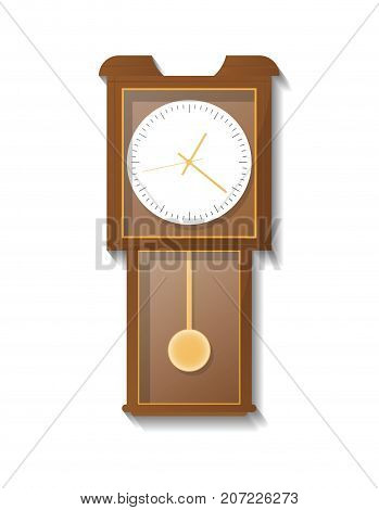 Vintage wooden pendulum clock icon. Analog chronometer isolated vector illustration in flat style.