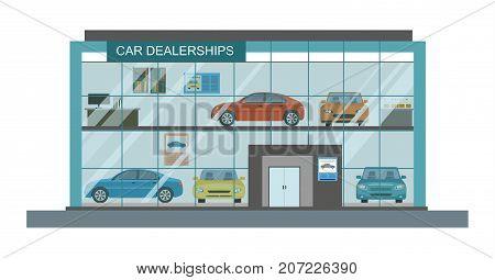 Modern car dealership showroom interior. Vector illustration.