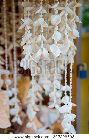 Shell Necklaces Hanging For Sale In Key West, Usa