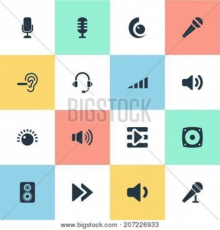 Elements Rewind, Sound, Reduce And Other Synonyms Volume, Communication And Quiet.  Vector Illustration Set Of Simple Play Icons.