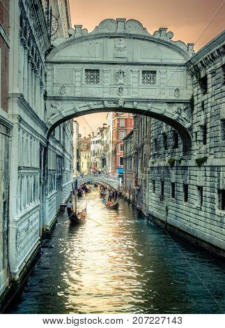 Bridge of Sighs at Doge's Palace, in Venice, Italy