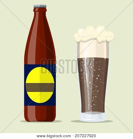 Bottle of dark stout beer with glass. Beer alcohol drink. Vector illustration in flat style