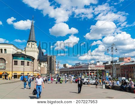 Moscow, Russia - July 24. 2017. people are walking along Komsomolskaya square near the Yaroslavsky railway station