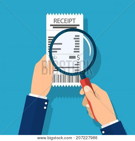 Man holding receipt. Studying paying bill, magnifying glass. Payment of utility, bank, restaurant. Concept business finance. vector illustration in flat style.