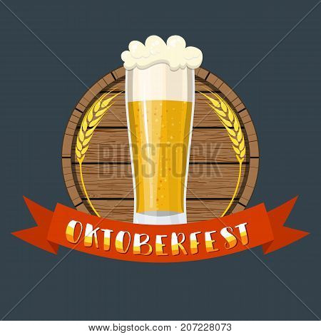 Glass of beer with craft foam lager ale on a wooden barrel. Oktoberfest beer festival cartoon poster, oktoberfest card design, menu, invitation. Vector illustration in flat style