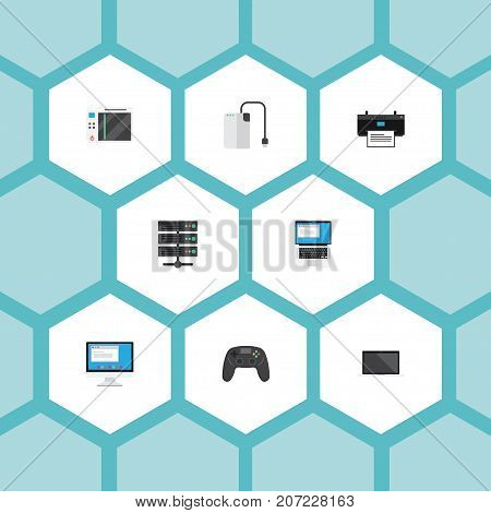 Flat Icons Controller, Printer, Monitor And Other Vector Elements