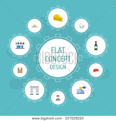 Flat Icons Palette, Restaurant, Cheddar And Other Vector Elements