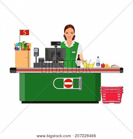 Woman cashier smiles buyer near the cash register supermarket. shopping cart with products. Vector illustration in flat style