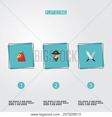 Flat Icons Corsair, Macaw, Sword And Other Vector Elements