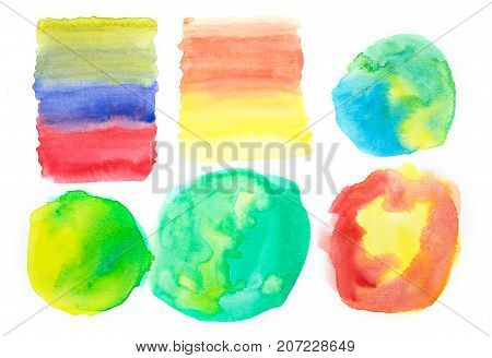 set of colorful watercolor paint splotches on white background for montage of your photo.