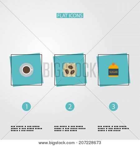 Flat Icons Package Latte, Saucer, Sweetener And Other Vector Elements