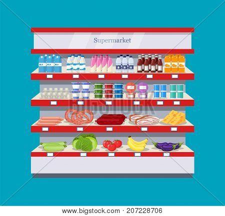 Shop, supermarket interior shelf with fruits, vegetables, milk, eggs drinks, preserves Healthy food