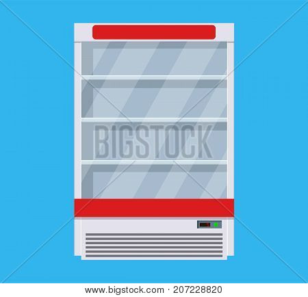 Modern commercial fridge or refrigerator for shop, pub, bar and trade organizations. Vector illustration in flat style