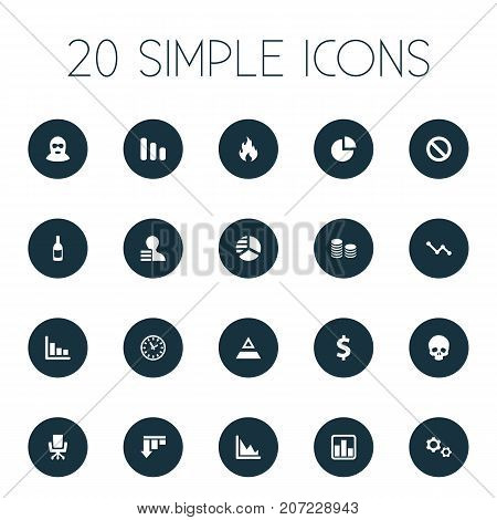 Elements Wealth, Cv, Corporation And Other Synonyms Down, Beverage And Business.  Vector Illustration Set Of Simple Impasse Icons.