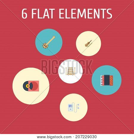 Flat Icons Retro Disc, Musical Instrument, Mp3 Player And Other Vector Elements