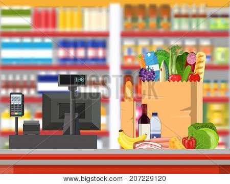 Supermarket store interior with goods. Big shopping mall. Interior store inside. Checkout counter with cash register, grocery, drinks, food, fruits, dairy products. Vector illustration in flat style