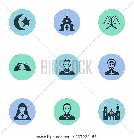 Elements Muslim, Chaplain, Clergyman And Other Synonyms Reverend, Islam And Christian.  Vector Illustration Set Of Simple Faith Icons.