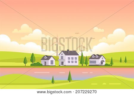 Small houses by the river during sunset - modern vector illustration. Landscape in pink and orange colors with two riverbanks, trees, small low storey suburban houses, sky with clouds, park, windmills