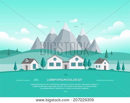 Landscape with houses by the mountains - modern vector illustration with place for your text in turquoise shades. Valley with hills, trees, low storey suburban houses, blue sky with clouds, birds