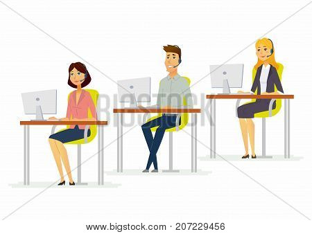 Workday in a call center - modern cartoon people characters illustration with man and women at the computer wearing headphones. Team of smiling hotline assistants in the office speaking with clients