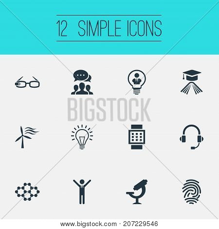 Elements Power, Connection, Lamp And Other Synonyms Hi-Tech, Device And Glasses.  Vector Illustration Set Of Simple Invention Icons.