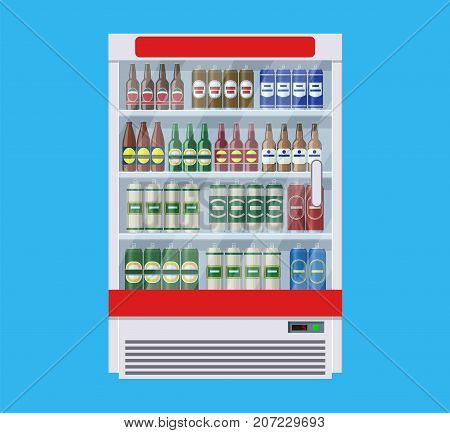 Showcases refrigerators for cooling drinks in bottles and cans. Different colored bottles and cans with beer in fridges. Cooling machine for shop. Vector illustration in flat style