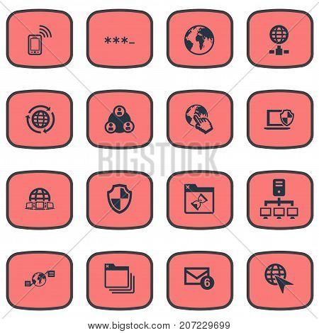 Elements Teamwork, Planet, Mobile Contact And Other Synonyms Parole, Mail And Cloud.  Vector Illustration Set Of Simple Network Icons.