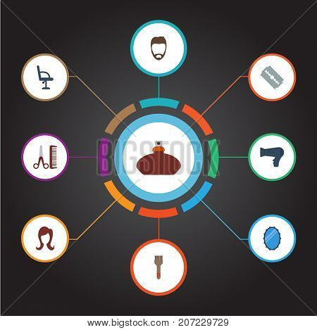 Flat Icons Looking-Glass, Hairstyle, Bristle And Other Vector Elements