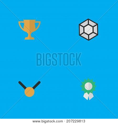 Elements Brilliant, Medal, Award And Other Synonyms Diamond, Expensive And Precious.  Vector Illustration Set Of Simple Trophy Icons.