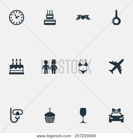 Elements Airplane, Pastry, Love Protection And Other Synonyms Fly, Dessert And Bikini.  Vector Illustration Set Of Simple Festal Icons.