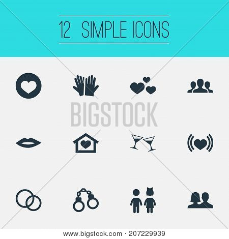 Elements Shackle, Girl, Heartbeat And Other Synonyms Celebration, Group And Beloveds.  Vector Illustration Set Of Simple  Icons.