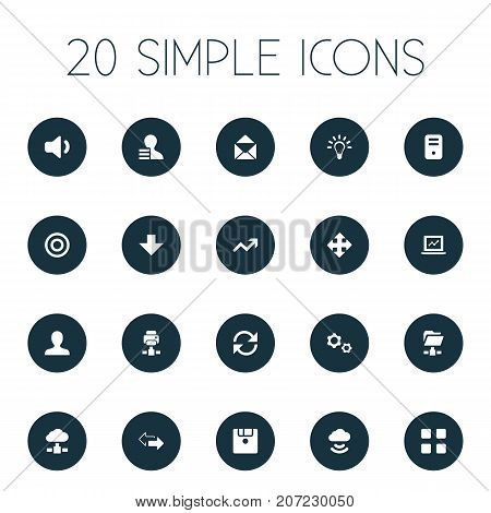 Elements Speaker, Printer, Goal And Other Synonyms Cogwheel, Variety And Laptop.  Vector Illustration Set Of Simple Apps Icons.