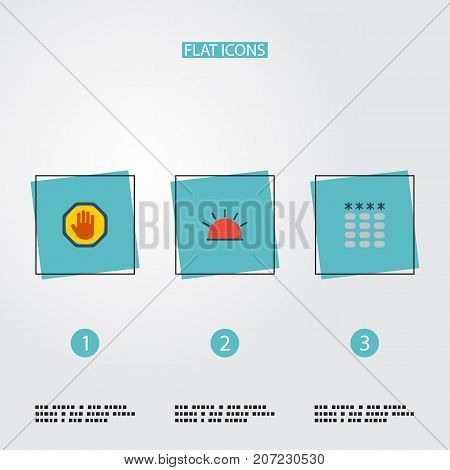 Flat Icons Keypad, Siren, Forbidden And Other Vector Elements