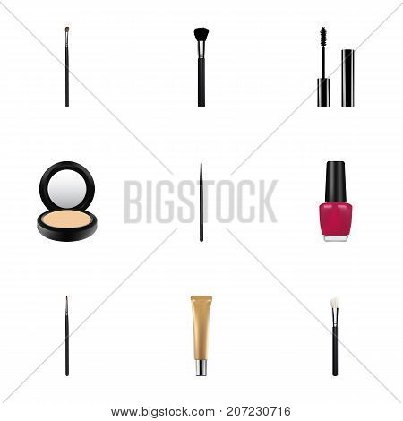 Realistic Blusher, Brush, Fashion Equipment And Other Vector Elements