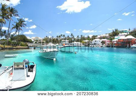Yacht Boats On Blue Sea Water In Hamilton, Bermuda