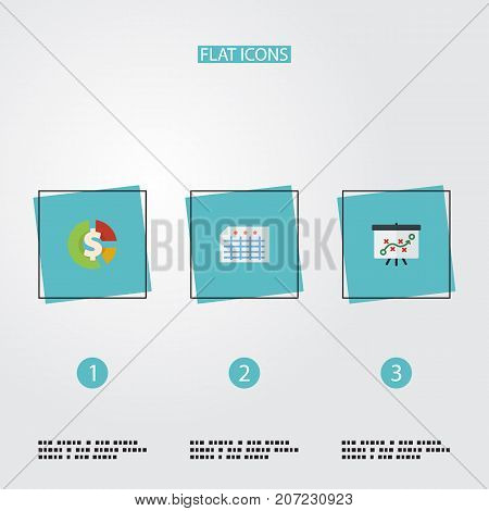 Flat Icons Stock, Sheet, Tactics And Other Vector Elements