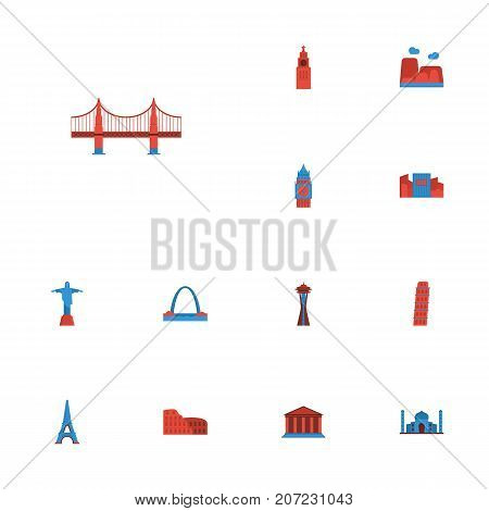 Flat Icons Architecture, London, Rio And Other Vector Elements
