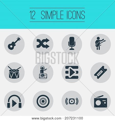 Elements Begin Button, Coupon, Listen And Other Synonyms Radio, Speaker And Tag.  Vector Illustration Set Of Simple  Icons.