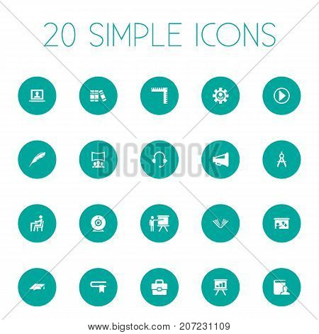 Elements Encyclopedia, Presentation, Graduation Cap And Other Synonyms Book, Businessman And Profile.  Vector Illustration Set Of Simple Conference Icons.
