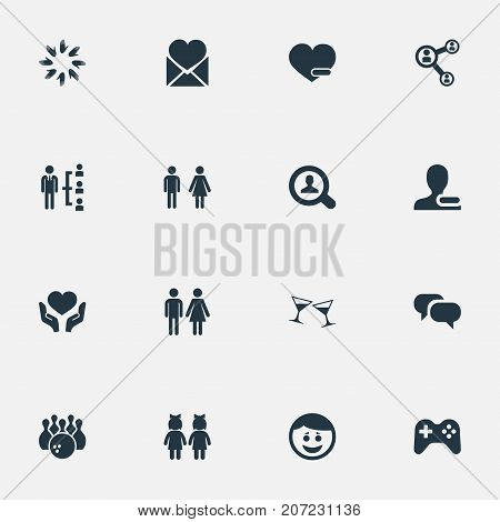 Elements Unity, Gossip, Magnifier And Other Synonyms Friend, Bowling And Conversation.  Vector Illustration Set Of Simple Buddies Icons.