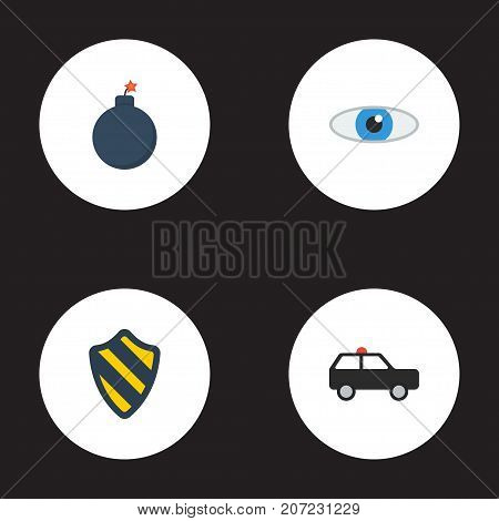 Flat Icons Armored Car, Explosive, Vision And Other Vector Elements