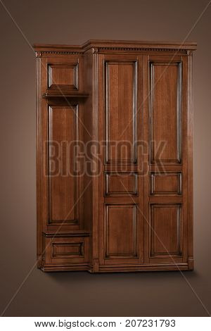 Brown wooden Cabinet on the brown background. Deployed a bit to the side