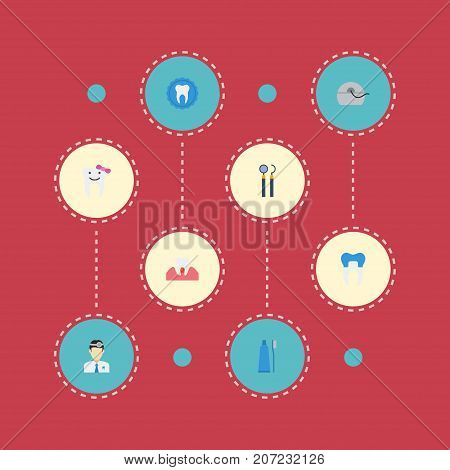 Flat Icons Children Dentist, Orthodontist, Gingivitis And Other Vector Elements