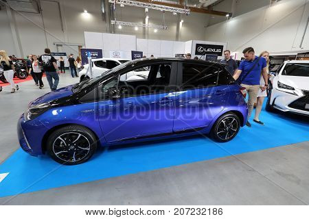 CRACOW POLAND - MAY 20 2017: Toyota Yaris Hybrid displayed at MOTO SHOW in Cracow Poland. Exhibitors present most interesting aspects of the automotive industry
