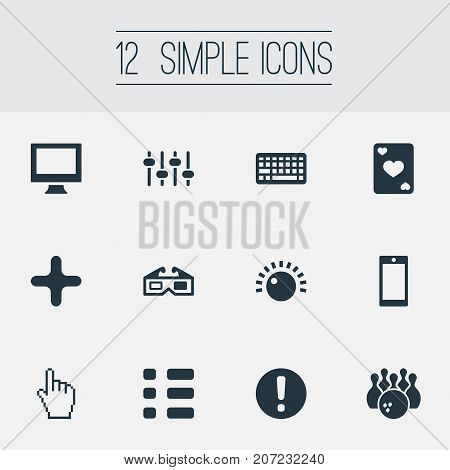 Elements Monitor, Mixer, Kegling And Other Synonyms Screen, Menu And Cursor.  Vector Illustration Set Of Simple Leisure Icons.