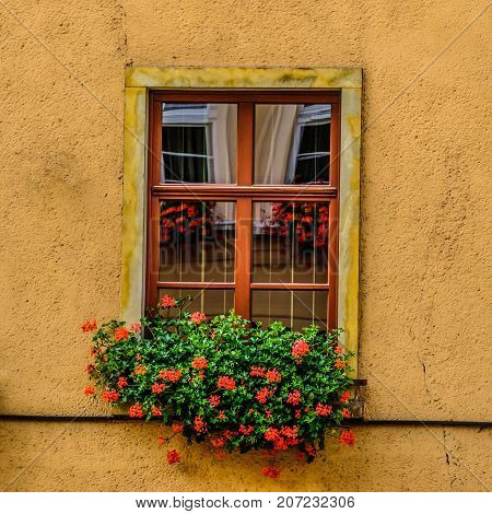 Window of old building reflection in Jelenia Gora